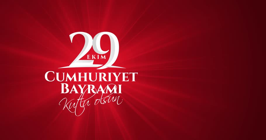 video animation Motion graphics 29 ekim Cumhuriyet Bayrami, Republic Day Turkey. Translation: 29 october Republic Day Turkey and the National Day in Turkey. celebration republic, video design elements