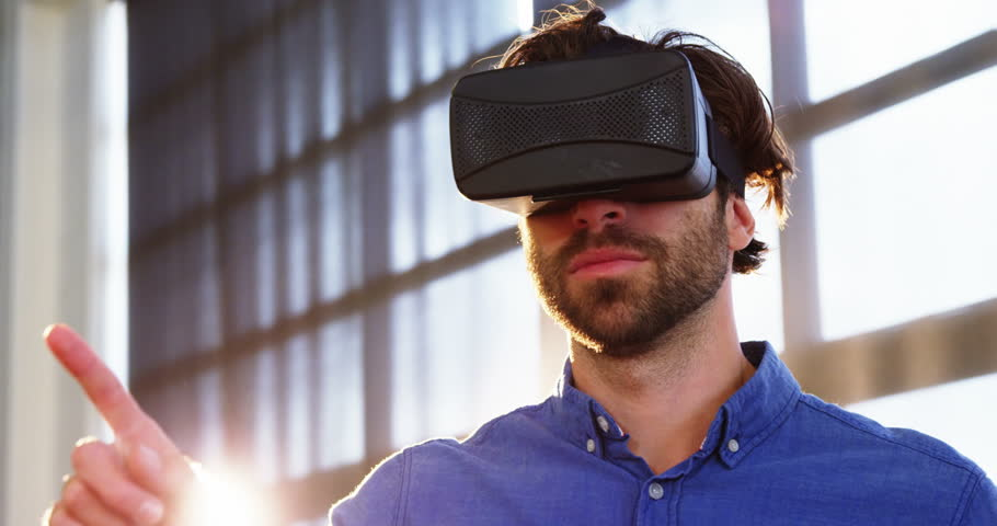 Man using virtual reality headset at office 4k | Shutterstock HD Video #20526451