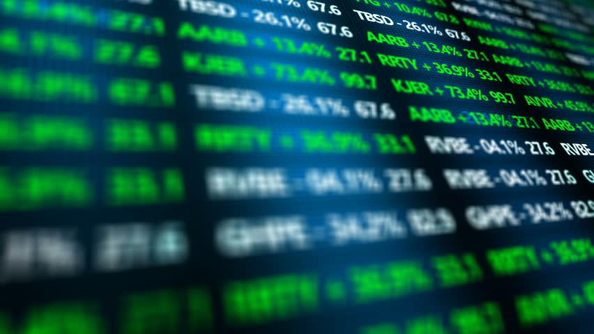 Stock Market Ticker ominous closeup in digital landscape of Stock Exchange | Shutterstock HD Video #20535616