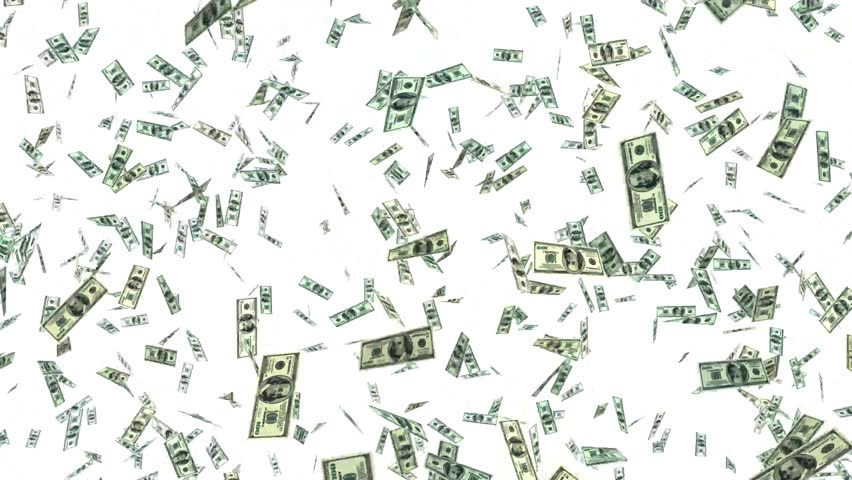 One hundred dollar bills falling through air. 3Danimation