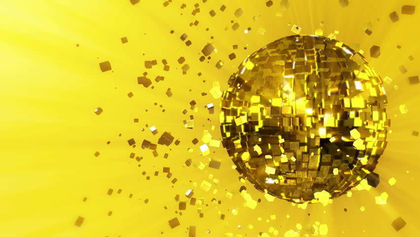 Abstract looped animated background: pulsating and spinning glow disco ball composed of cubes with yellow-gold-orange shinny streaks of light and shards of crystals rotating around and reflecting rays