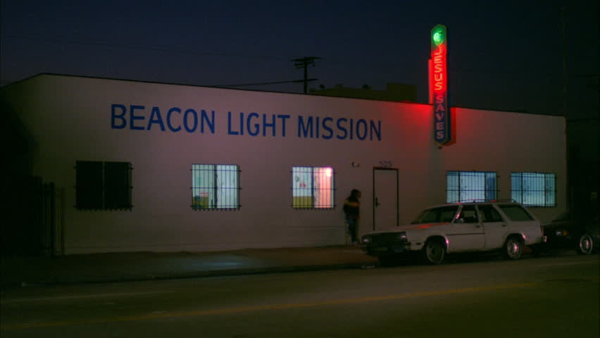 night raked left Beacon Light Mission homeless shelter neon sign Jesus Saves one story building & Night Raked Left Night Raked Left Beacon Light Mission Homeless ... Pezcame.Com
