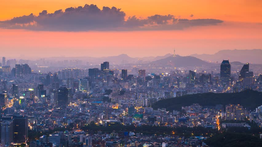 Beautiful cityscape in sunset of Seoul, South...