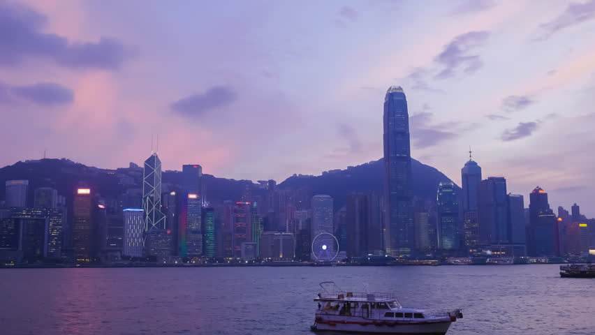 4k Time-lapse day to night of  Skyline of Hong Kong city, view from Victoria Harbour | Shutterstock HD Video #20978389