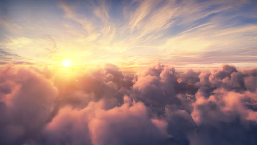 Flying over the evening timelapse clouds with the late sun. Seamlessly looped animation. Flight through moving cloudscape with beautiful sun rays. Traveling by air. Perfect for cinema, background