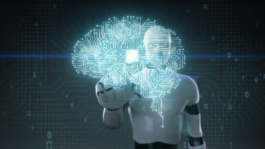 Robot cyborg touching brain connected CPU chip circuit board, grow artificial intelligence   Shutterstock HD Video #21200596