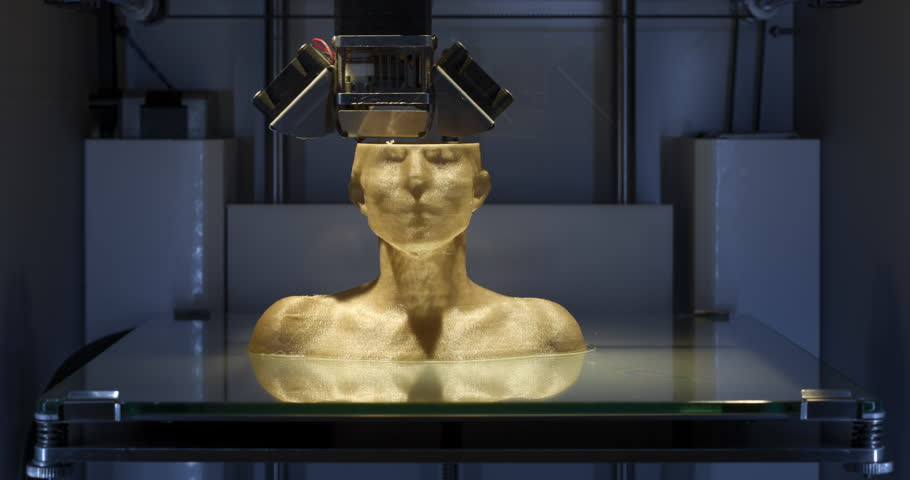 Working 3D printer, printing a female bust with slight zoom-In at end.  Part of a set of two, can be edited. 4K - Time Lapse -  Close Up - CU | Shutterstock Video #21237259