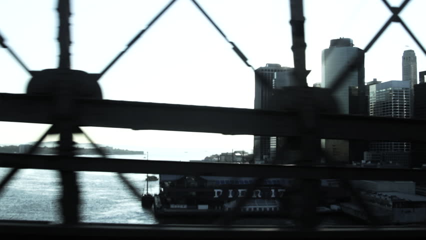 Car crossing East River with Manhattan Financial District and Brooklyn Bridge, New York City, USA | Shutterstock HD Video #2126630