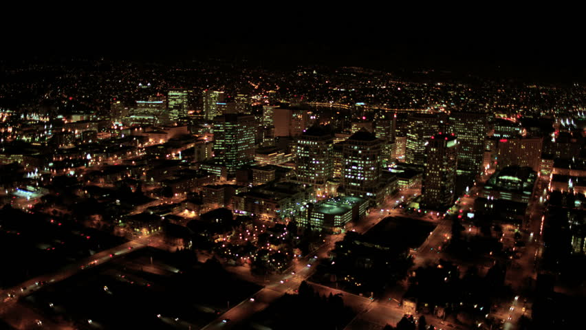 Aerial night illuminated cityscape view of...