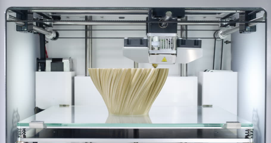 3D printer, printing a fractal vase - Zoom-In at the end.  Vase by BenitoSanduchi licensed under Creative Commons - Attribution - Share Alike license. Source: http://www.thingiverse.com/thing:37117  | Shutterstock Video #21335164