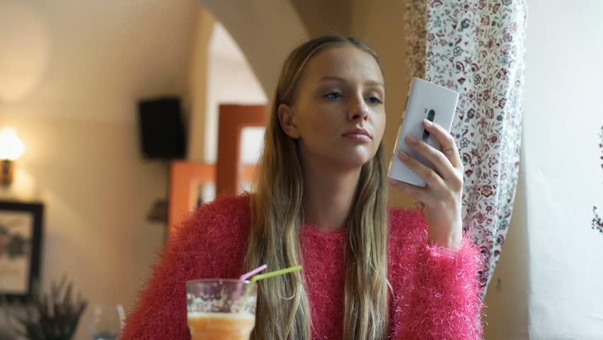 Beauty Teenage Girl Applying Make Up And Admiring Herself -8522