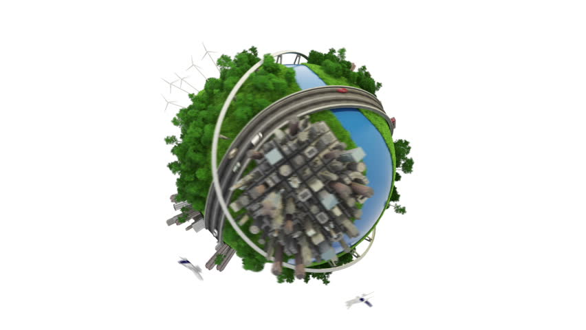 Loop able 3D animation of a conceptual globe with transports city and nature + alpha channel