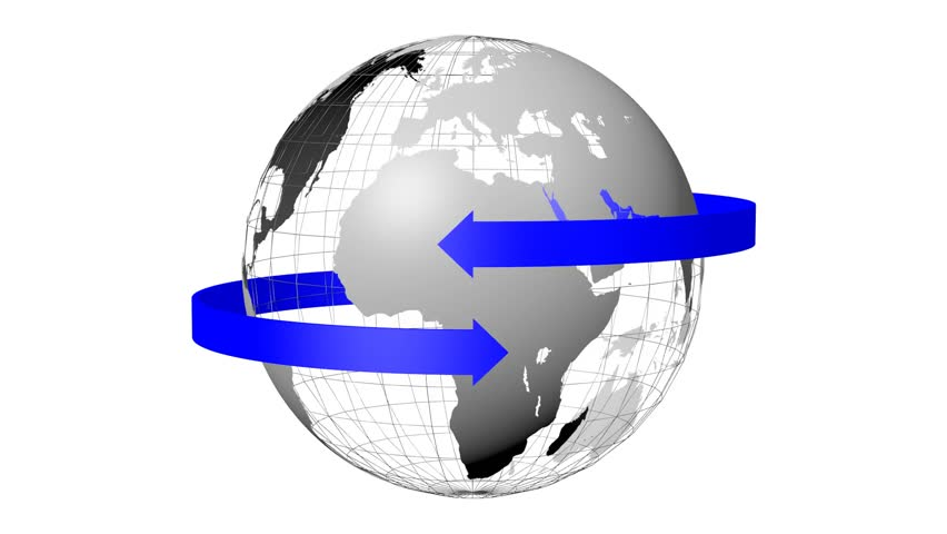 3D animation/ 3D rendering - Earth with all continents (Europe, Asia, Africa, South America, North America, Australia), blue arrows.
