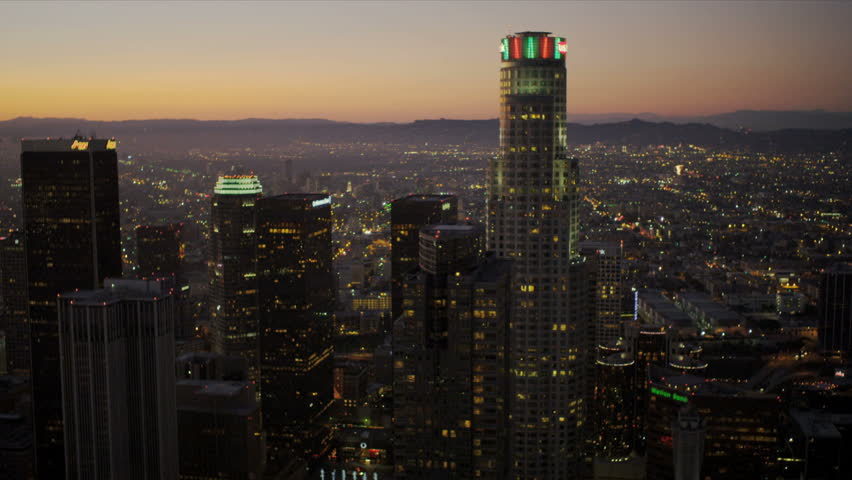 Aerial view at dusk of the city skyscrapers of Los Angeles  | Shutterstock HD Video #2148434