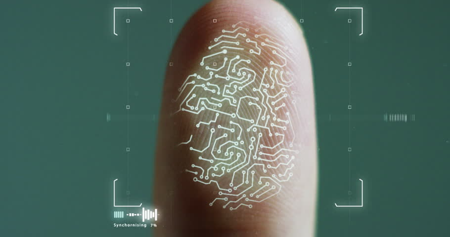 futuristic digital processing of biometric fingerprint scanner. concept of surveillance and security scanning of digital programs and fingerprint biometrics. cyber futuristic applications.