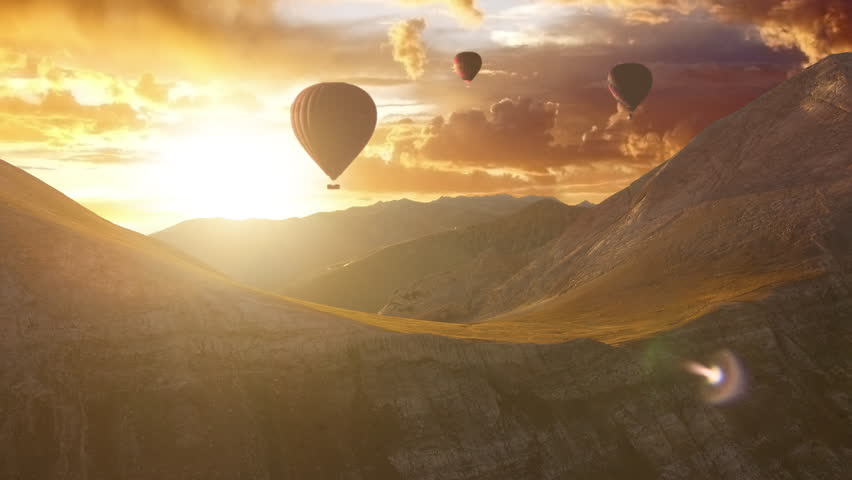 Aerial Flight Over Hot Air Baloons in a Mountain Range at Sunset Beautiful Nature Summer Landscape Beauty Religion Relaxation Inspiration Treavel Destination Vacation | Shutterstock Video #21575251