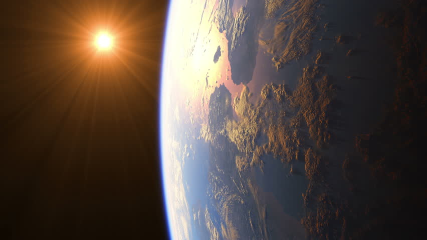 Sunrise Over The Earth. Amazing View Of Planet Earth From Space. Ultra High Definition. 4K. 3840x2160. Realistic 3d Animation.
