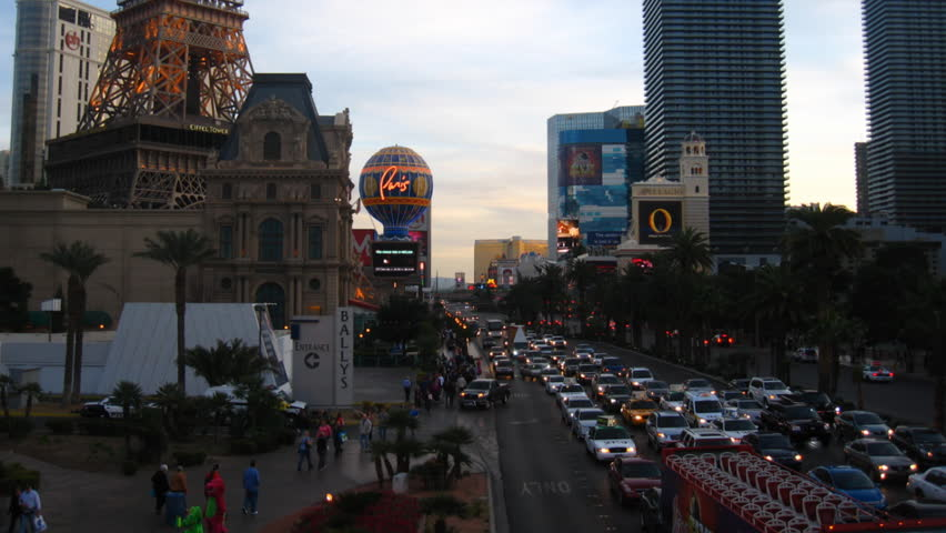 LAS VEGAS - CIRCA FEBRUARY 2012: (Timelapse View) Sunset shot looking south down
