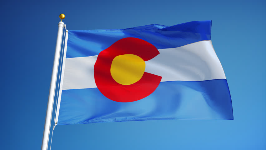Looping Movie Of The Colorado State Flag Waving In The Wind With ...