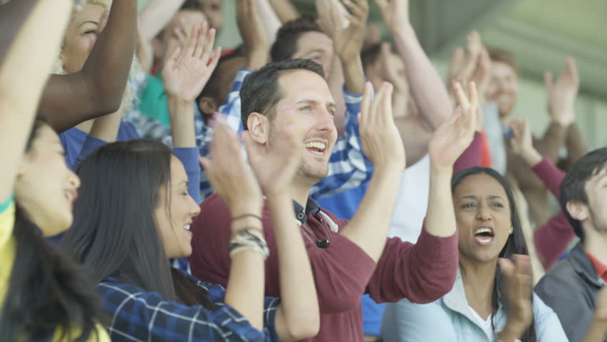 4K Excited sports fans at live game chanting and cheering for their team (UK-Oct 2016) | Shutterstock HD Video #21743338