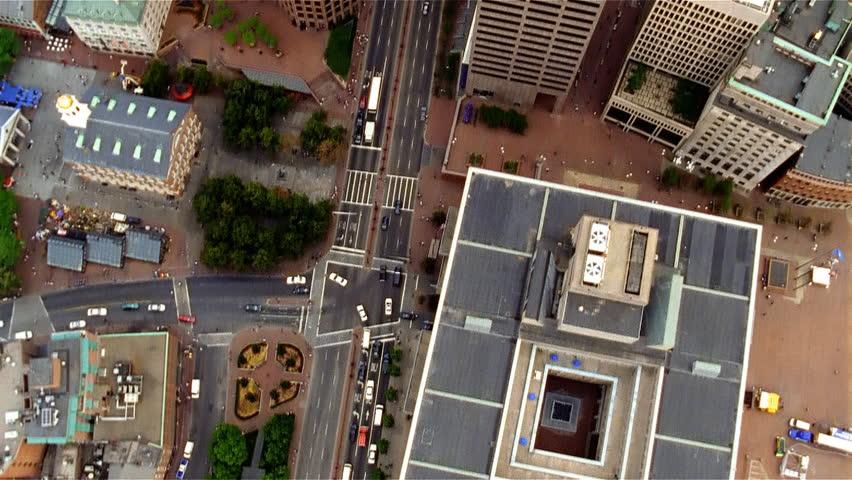 Boston, MA - CIRCA 2003 - Daytime aerial view of downtown Boston