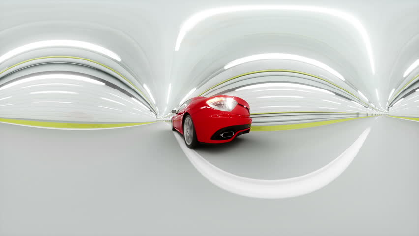 360 degrees panorama. red sport car in a tunnel. fast driving. 3d animation.