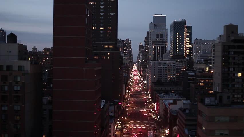 NYC new york city night skyline street aerial view   Shutterstock Video #2195521