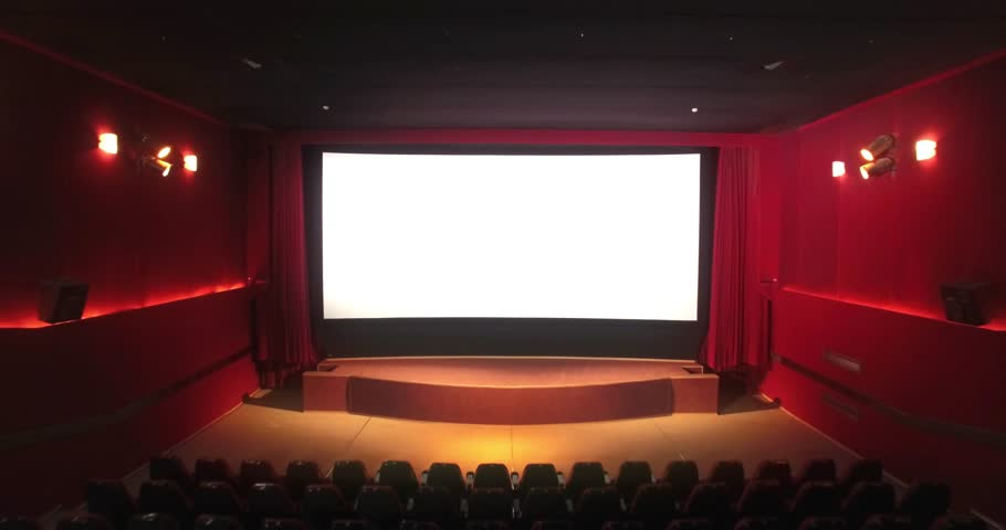Cinema screen with open curtain and red seats / empty cinema hall - 3d