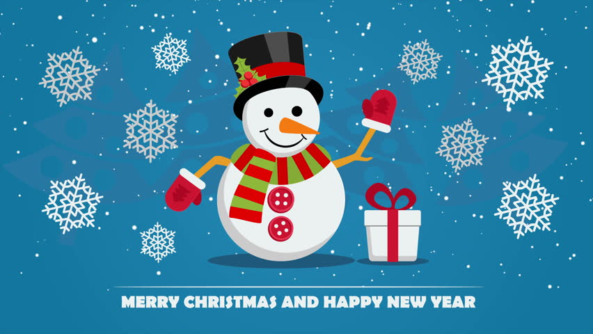 Snowman near gift box with ribbon and text below on Christmas Eve. Xmas and New Year greeting card template with falling snowflakes. | Shutterstock HD Video #22132267