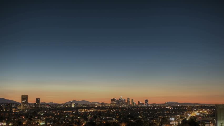 Sunrise Timelapse of Downtown Los Angeles skyline