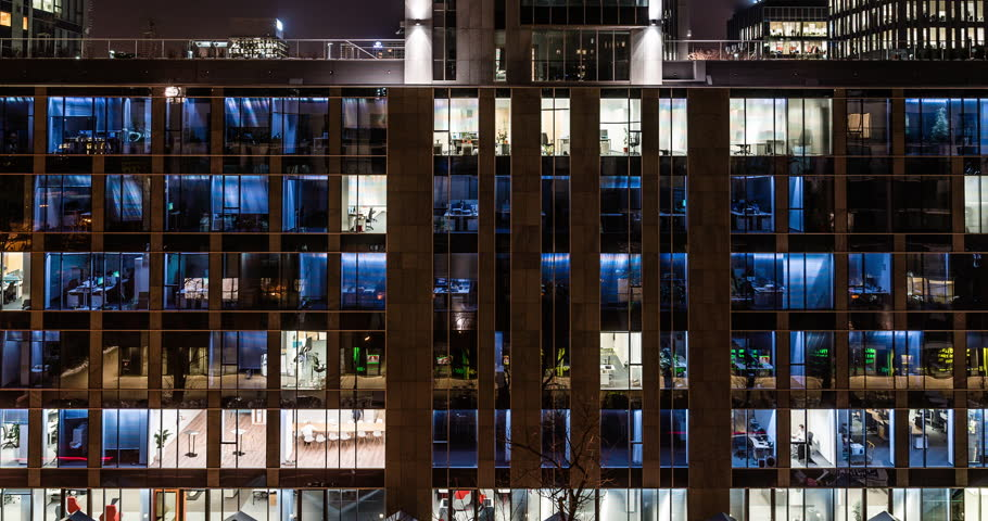TIME LAPSE: Glass Office Building, Light in the...