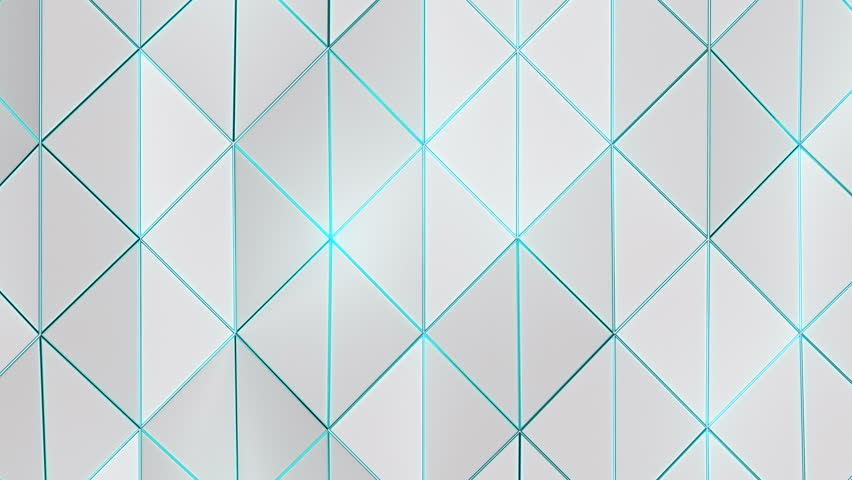 Geometric Triangle Wall Loop 1B: abstract background low poly waving triangles surface with shiny cool blue edge accents, 4K FullHD, seamless loop.