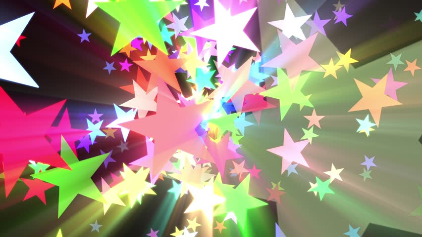 Multicolored Disco Stars Colorful Rays VJ Motion Background Loop Roll Right  | Shutterstock HD Video #22338934