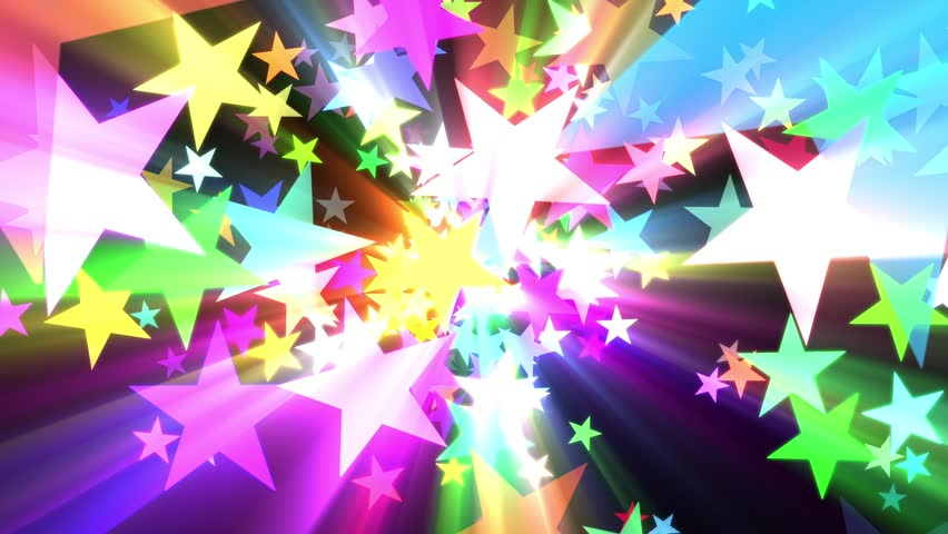 Multicolored Disco Stars Colorful Rays VJ Motion Background Loop Roll Left  | Shutterstock HD Video #22338937