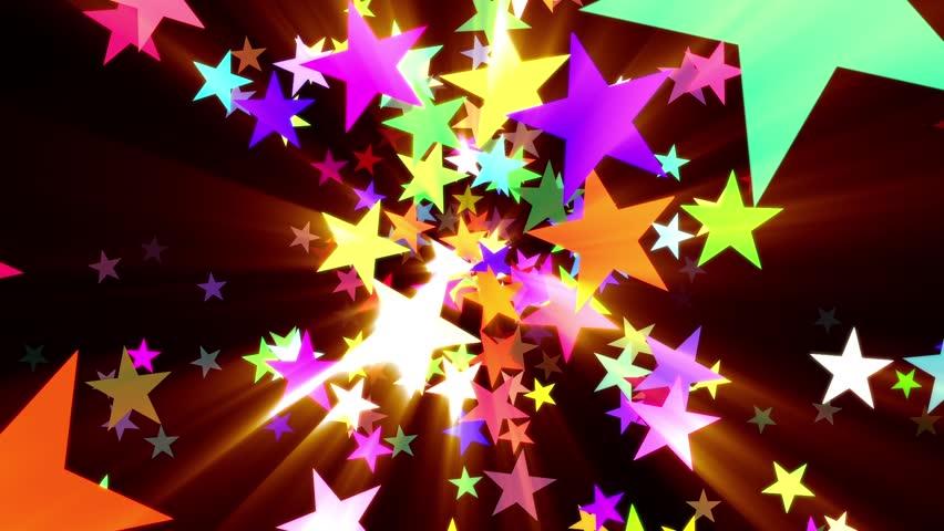 Multicolored Disco Stars Warm Rays VJ Motion Background Loop Roll Left | Shutterstock HD Video #22338940