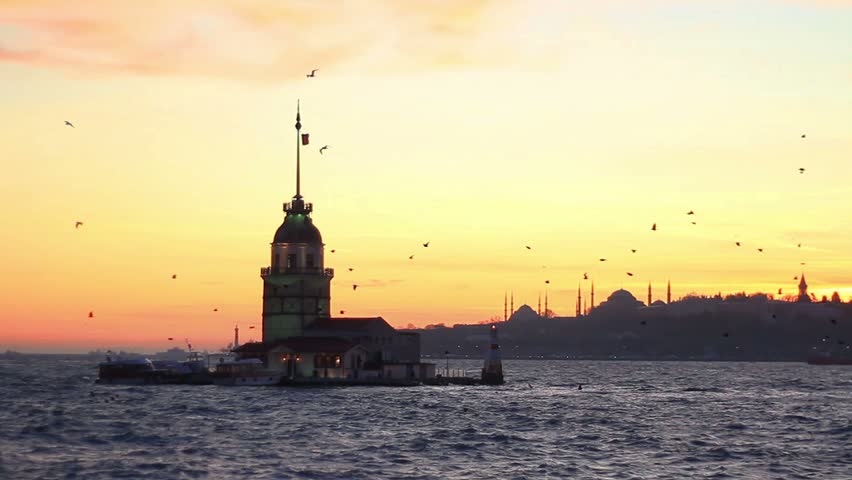 Istanbul from Salacak coast. Maidens Tower, Mosques and Ottoman palace are in