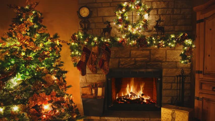 Christmas Room. Christmas Tree By The Fireplace Stock ...