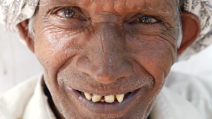 Closeup Of Happy Old Black Man Smiling At Camera Stock ...