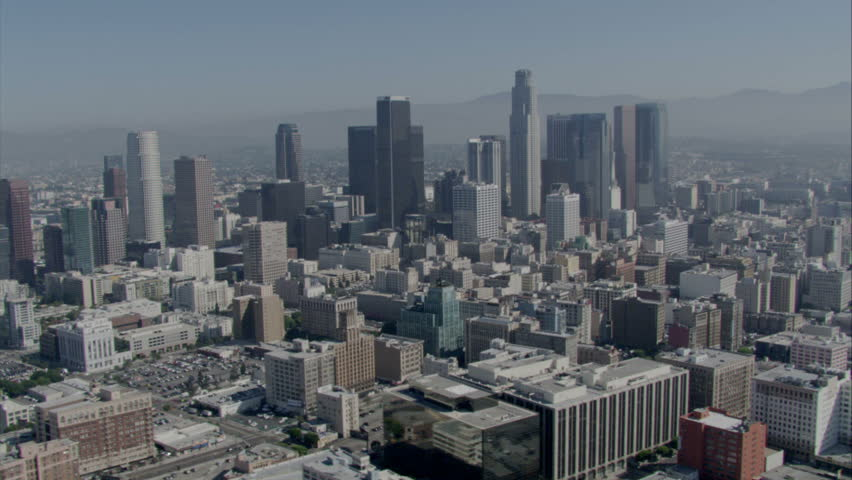 aerial daytime shot of the downtown area of a metropolitan city circa 2009