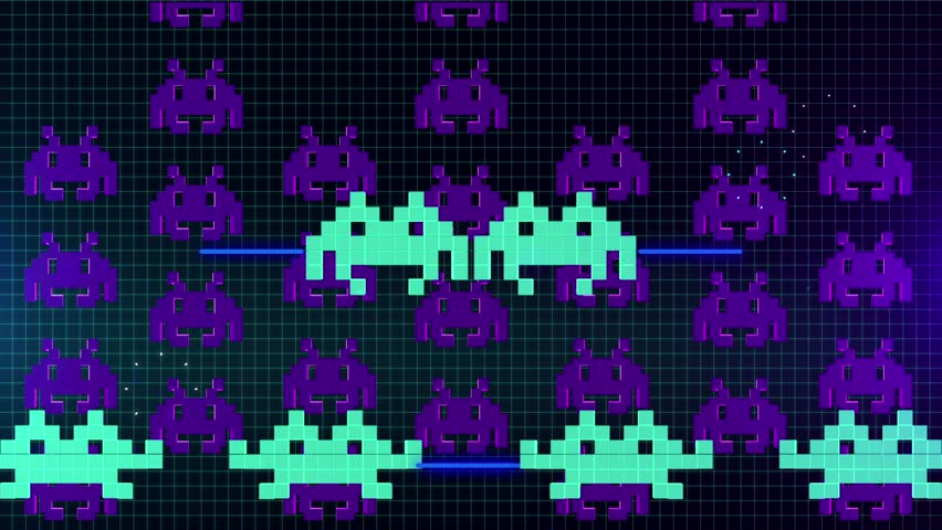 Seamless animation of cute 8 bit pixel space game or computer virus attacking your computer in 4k