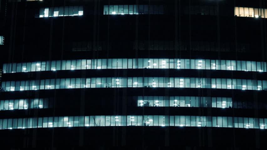 Skyscraper office building with glowing windows  | Shutterstock HD Video #22728631