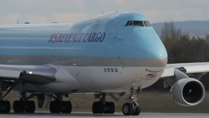 OSLO, NORWAY - MAY 2012: Korean Air Cargo, Boeing 747-499 freight airplane line