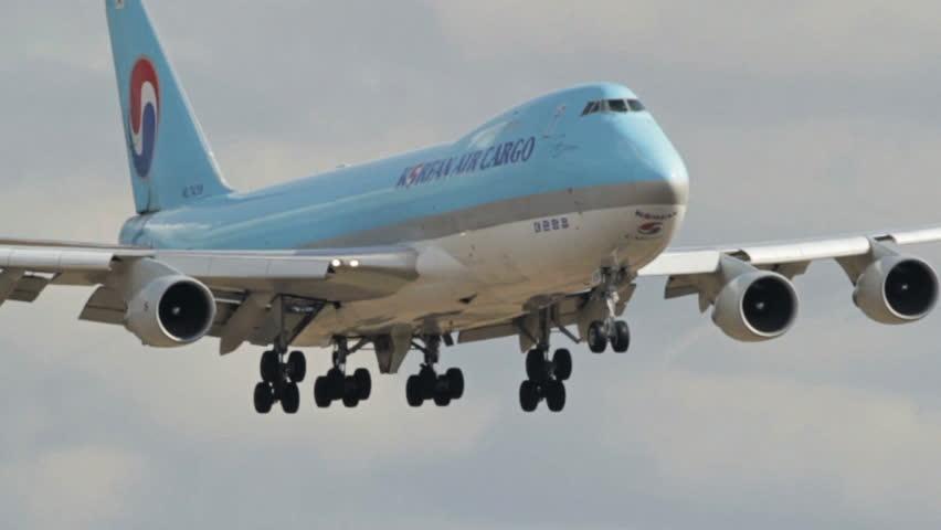 OSLO, NORWAY - MAY 2012: Korean Air Cargo Boeing 747-400 freight airplane