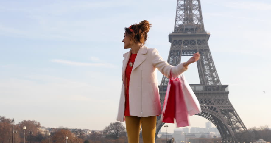 Paris, Woman shopping in Paris, 4K, UHD (3840X2160) | Shutterstock HD Video #22920460