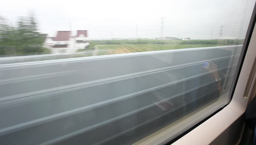 Travel by fast train, view from window