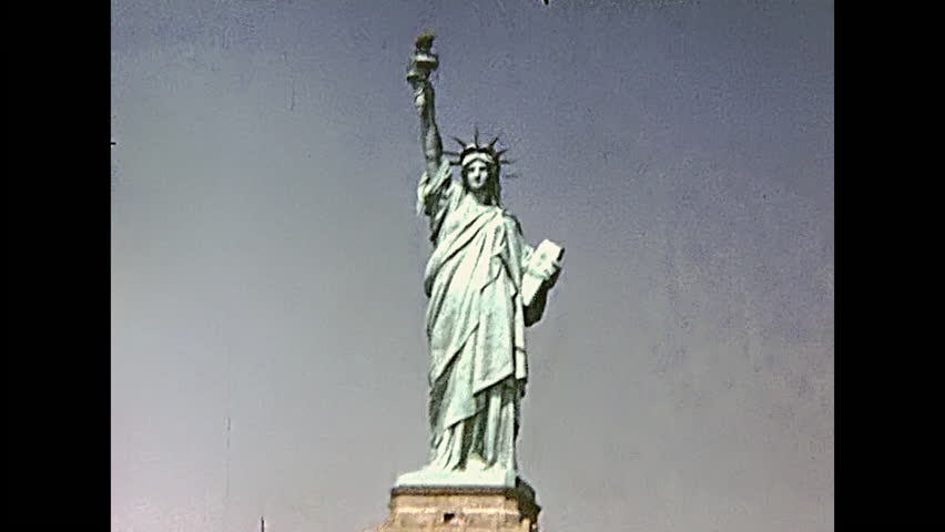 Statue of Liberty from boat tour, Hudson river of Manhattan. New York, United States of America on 1970.