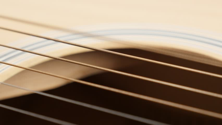 Wooden acoustic guitar E string vibration shallow DOF 4K 2160p 30fps UltraHD panning footage - Detailed plucked instrument body slow pan 3840X2160 UHD video