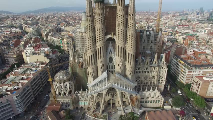 Basilica and Expiatory Church of the Holy Family, Barcelona - Spain This is an aerial video of Basilica and Expiatory Church of the Holy Family shot by drone in Barcelona, Spain. | Shutterstock Video #23344345