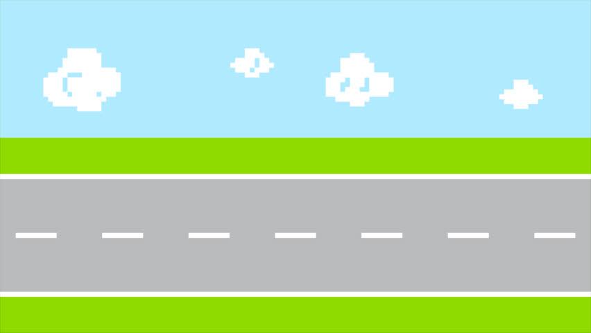 pixel art retro arcade game colorful animated background