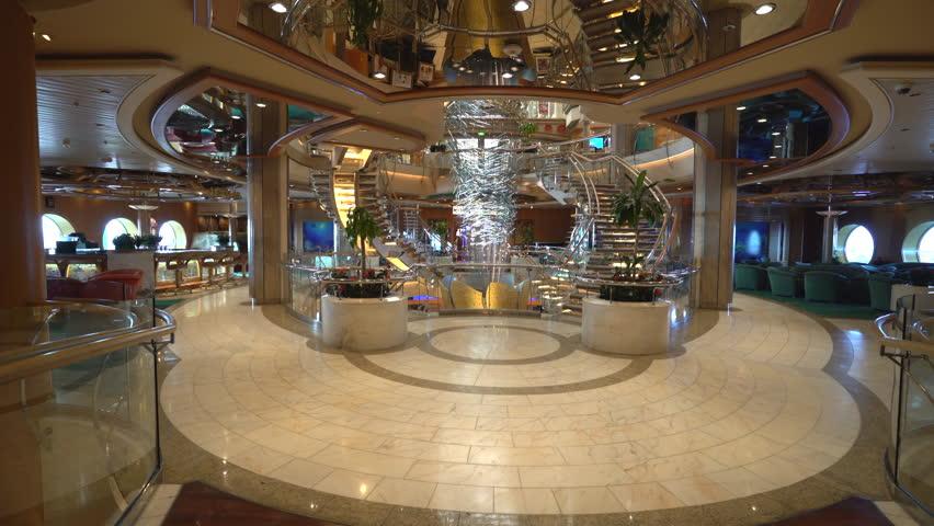 Cruise ship luxury interior. Atrium hall and promenade - October 2016. Adventure of the Seas, Royal Caribbean | Shutterstock HD Video #23483785